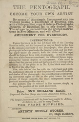 Leaflet for the Artists Supply Stores, High Holborn, featuring an advert for a 'pentograph'